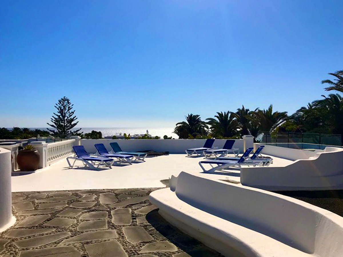 pool and sea views
