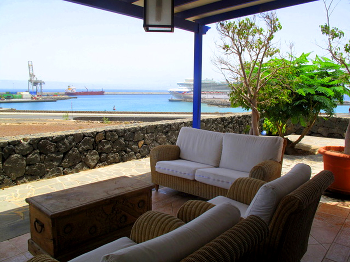 terrace and views across harbour